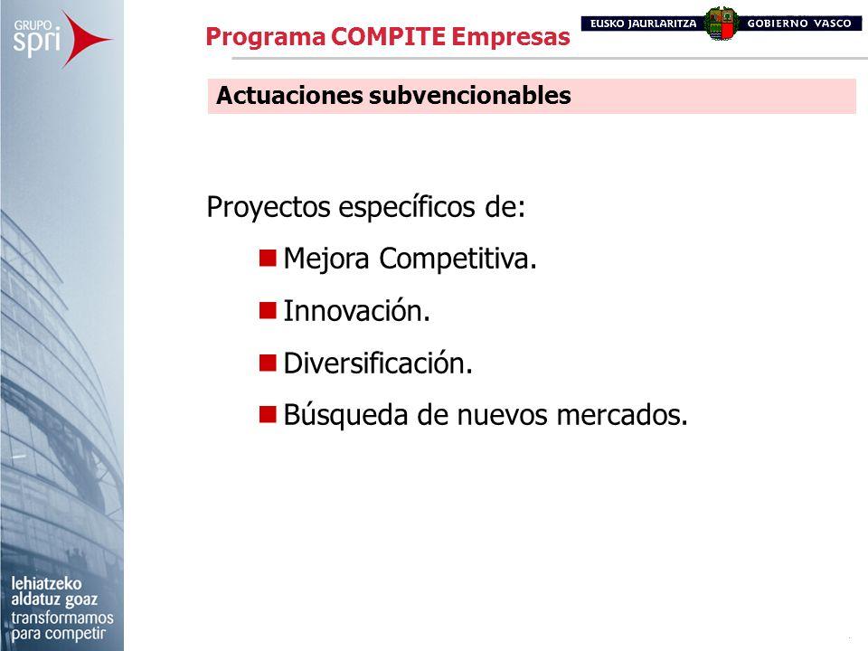 Proyectos específicos de: Mejora Competitiva. Innovación. Diversificación. Búsqueda de nuevos mercados. Actuaciones subvencionables Programa COMPITE E