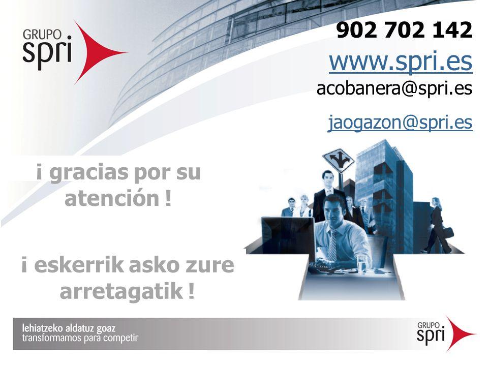 ¡ gracias por su atención ! 902 702 142 www.spri.es acobanera@spri.es www.spri.es jaogazon@spri.es ¡ eskerrik asko zure arretagatik !