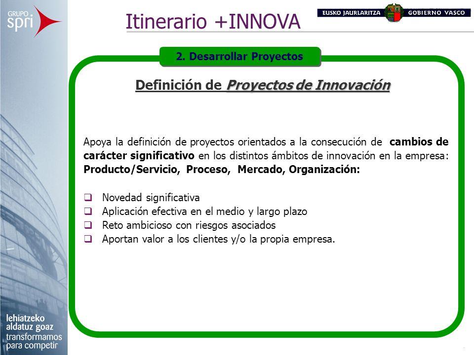 Proyectos de Innovación Definición de Proyectos de Innovación Apoya la definición de proyectos orientados a la consecución de cambios de carácter sign