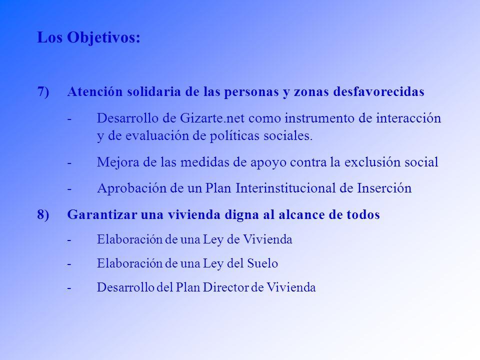 Los Objetivos: 5)Profundizar en la Formación, como fuente de cultura y de cohesión -Potenciar la autonomía de los centros -Desarrollo y actualización del Plan Universitario, -Modificación y Actualización de la Ley de Ordenación Universitaria -Aprobación de una normativa específica para los nuevos planteamientos de la Formación Profesional 6)Consolidación de un Servicio Sanitario de Calidad -Elaboración de un nuevo Plan de Salud -Reducción de las listas de espera -Elaboración de la Ley del Testamento Vital