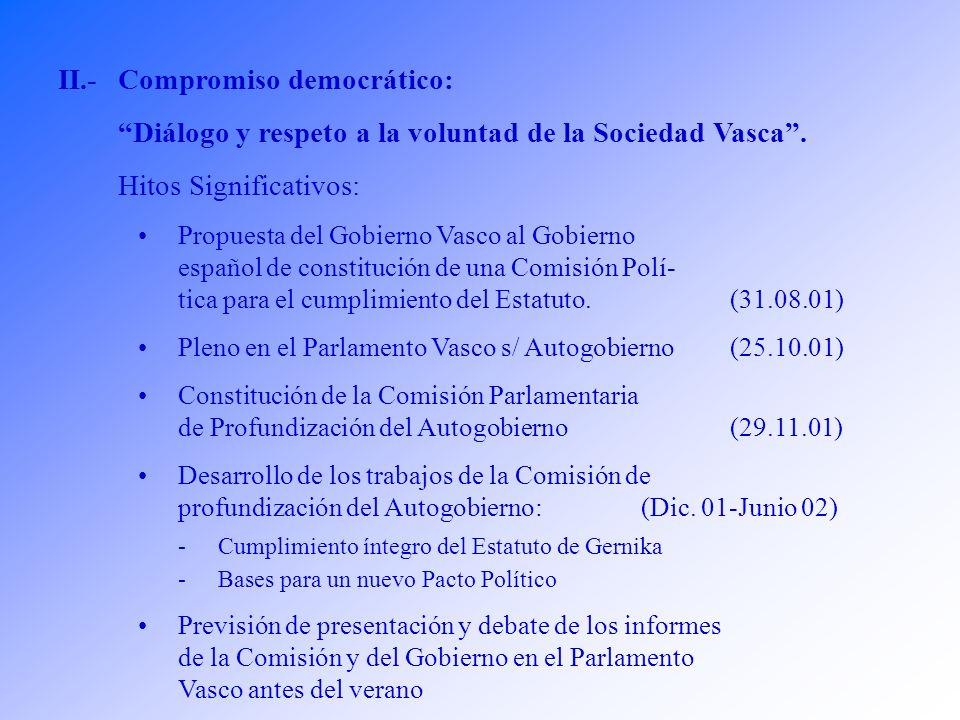 II.-Compromiso democrático: Diálogo y respeto a la voluntad de la Sociedad Vasca.