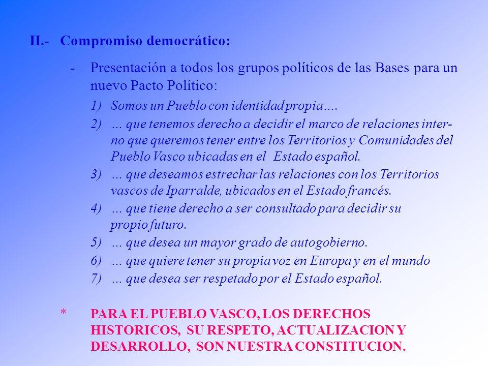 II.-Compromiso democrático: -Presentación a todos los grupos políticos de las Bases para un nuevo Pacto Político: 1)Somos un Pueblo con identidad propia….