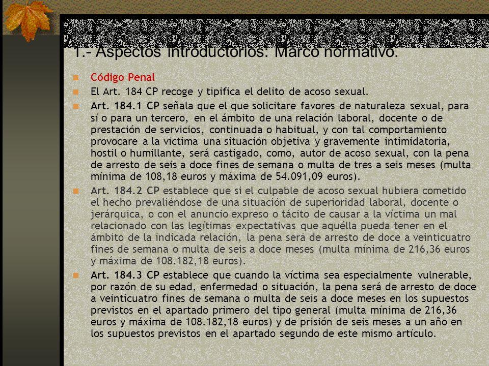 1.- Aspectos introductorios: Marco normativo.Código Penal El Art.