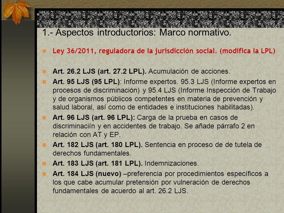 1.- Aspectos introductorios: Marco normativo.Ley 36/2011, reguladora de la jurisdicción social.