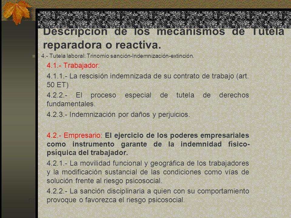 Descripción de los mecanismos de Tutela reparadora o reactiva.