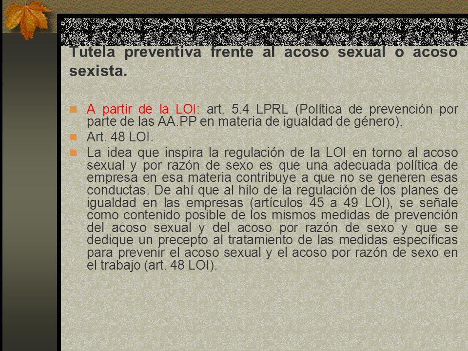 Tutela preventiva frente al acoso sexual o acoso sexista.