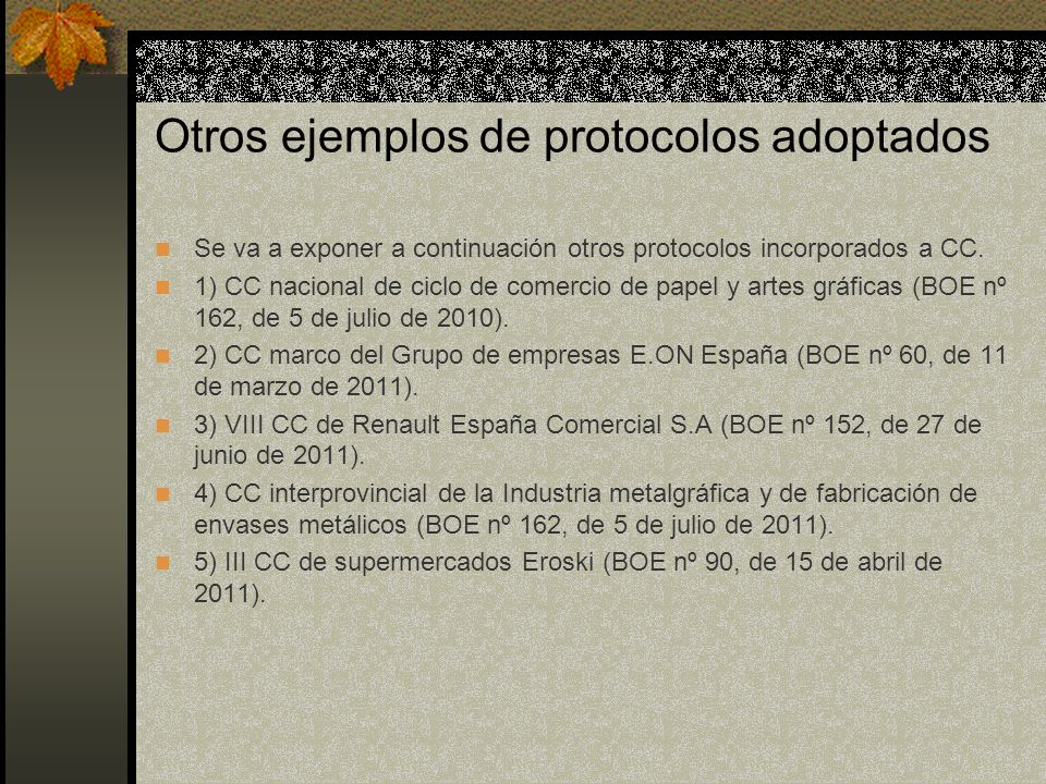 Otros ejemplos de protocolos adoptados Se va a exponer a continuación otros protocolos incorporados a CC.