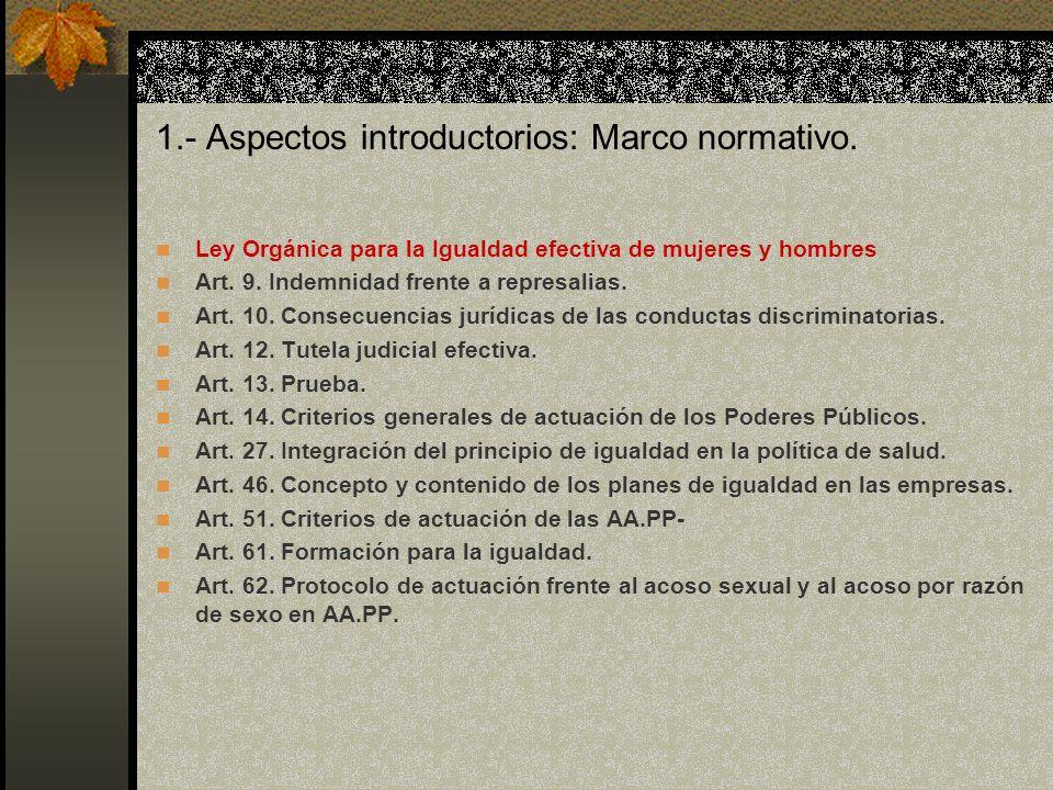 1.- Aspectos introductorios: Marco normativo.