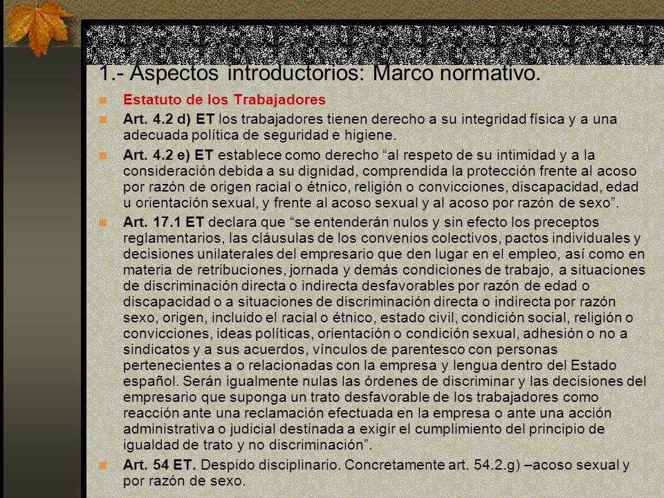 1.- Aspectos introductorios: Marco normativo.Estatuto de los Trabajadores Art.