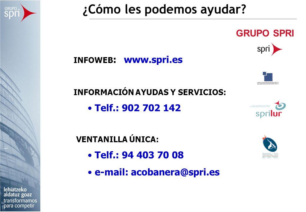 GRUPO SPRI ¿Cómo les podemos ayudar? INFOWEB : www.spri.es INFORMACIÓN AYUDAS Y SERVICIOS: Telf.: 902 702 142 VENTANILLA ÚNICA: Telf.: 94 403 70 08 e-