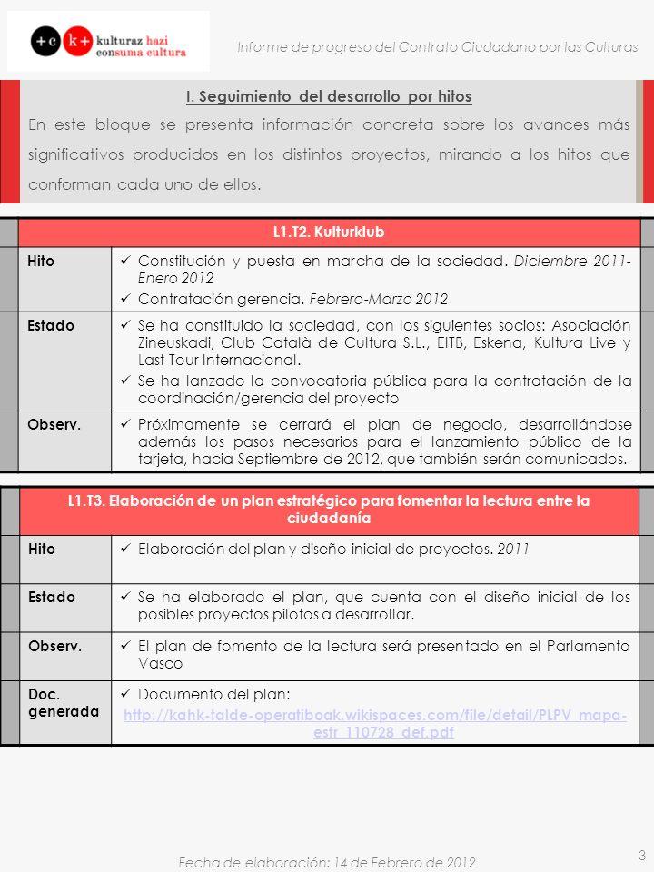Fecha de elaboración: 14 de Febrero de 2012 Informe de progreso del Contrato Ciudadano por las Culturas 3 I.