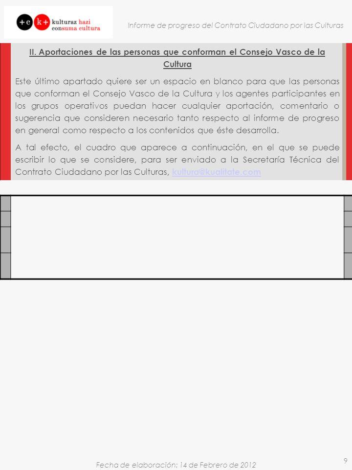Fecha de elaboración: 14 de Febrero de 2012 Informe de progreso del Contrato Ciudadano por las Culturas 9 II.