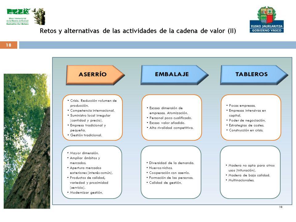 18 Retos y alternativas de las actividades de la cadena de valor (II) Crisis. Reducción volumen de producción. Competencia internacional. Suministro l