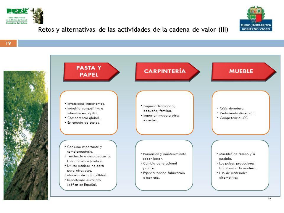 19 Retos y alternativas de las actividades de la cadena de valor (III) Inversiones importantes. Industria competitiva e intensiva en capital. Competen