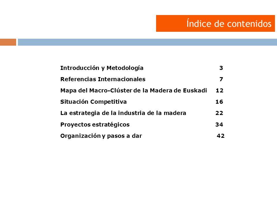 Introducción y Metodología3 Referencias Internacionales7 Mapa del Macro-Clúster de la Madera de Euskadi 12 Situación Competitiva16 La estrategia de la