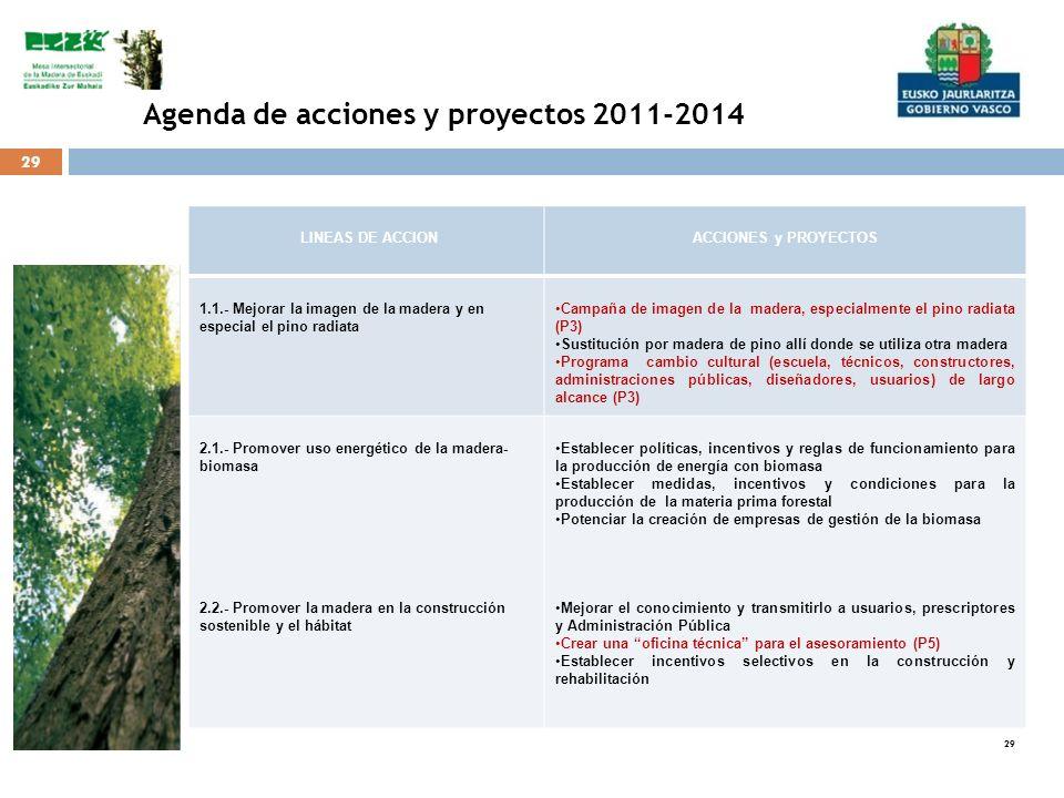 29 Agenda de acciones y proyectos 2011-2014 LINEAS DE ACCIONACCIONES y PROYECTOS 1.1.- Mejorar la imagen de la madera y en especial el pino radiata Ca