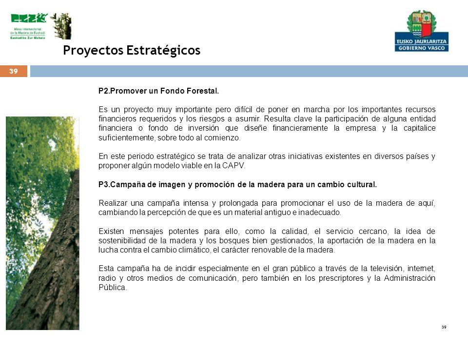 39 Proyectos Estratégicos P2.Promover un Fondo Forestal. Es un proyecto muy importante pero difícil de poner en marcha por los importantes recursos fi