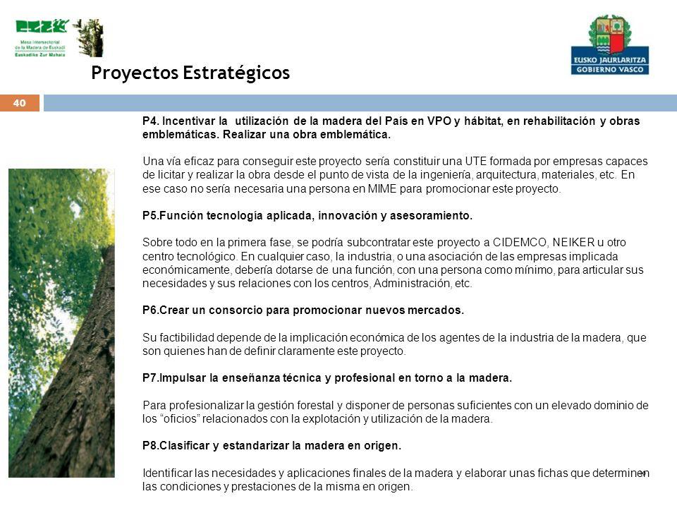 40 Proyectos Estratégicos P4. Incentivar la utilización de la madera del País en VPO y hábitat, en rehabilitación y obras emblemáticas. Realizar una o