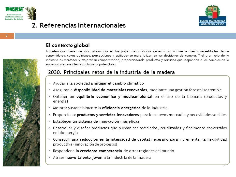 7 7 2. Referencias Internacionales 7 Ayudar a la sociedad a mitigar el cambio climático Asegurar la disponibilidad de materiales renovables, mediante