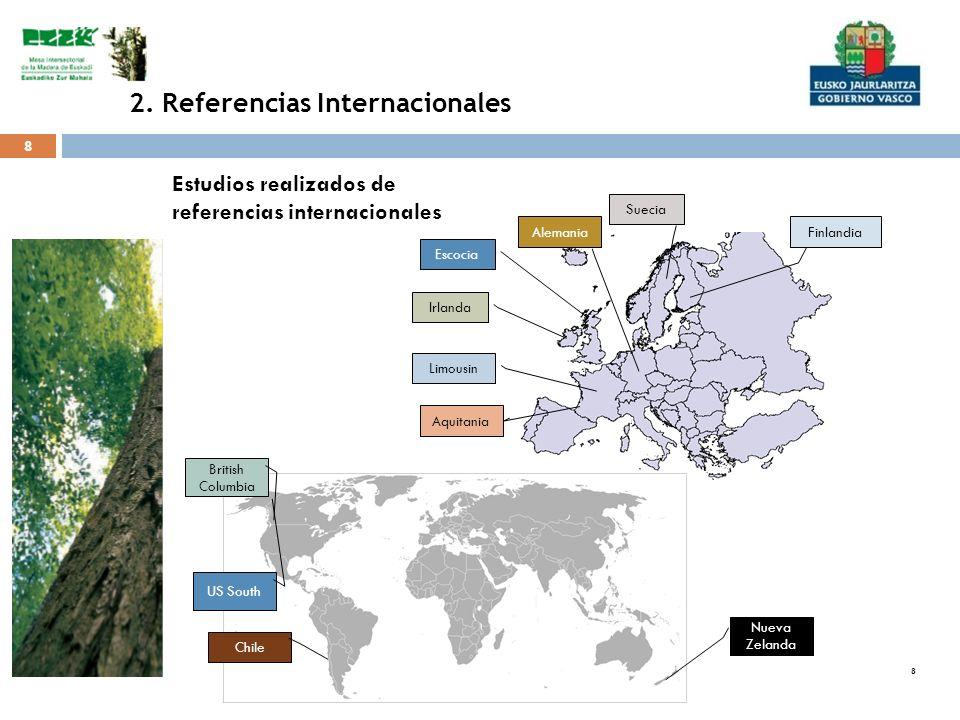 8 8 8 Estudios realizados de referencias internacionales Irlanda Escocia Limousin Aquitania Alemania Suecia Finlandia Nueva Zelanda Chile British Colu