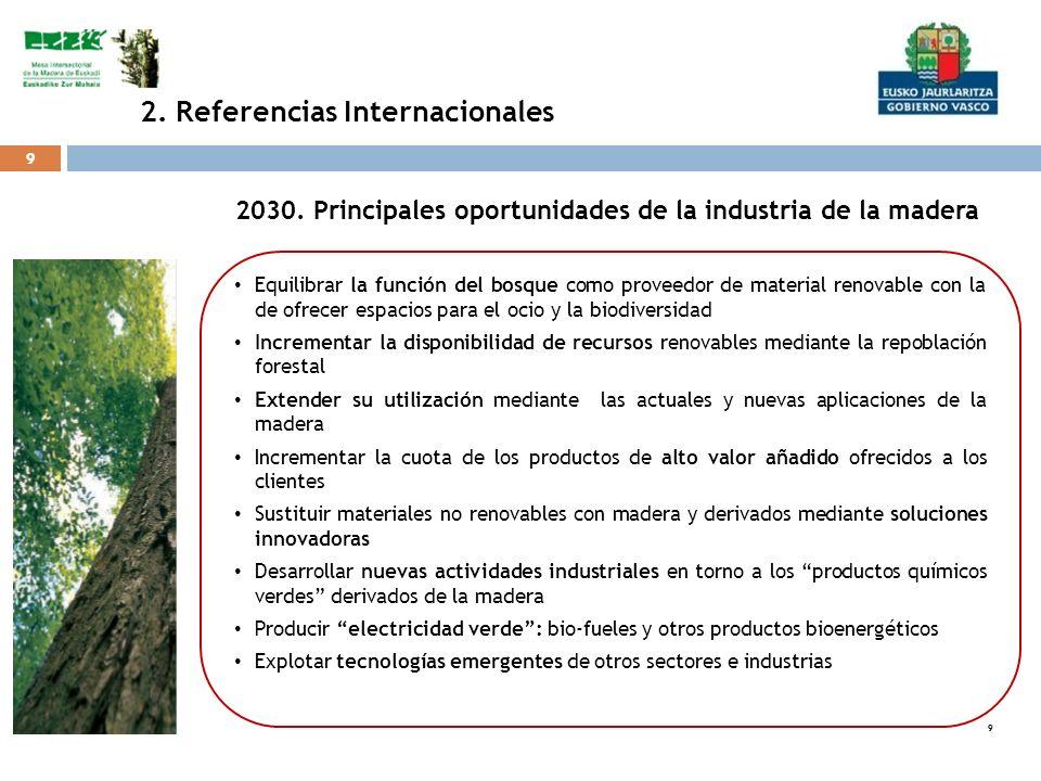 9 9 9 Equilibrar la función del bosque como proveedor de material renovable con la de ofrecer espacios para el ocio y la biodiversidad Incrementar la