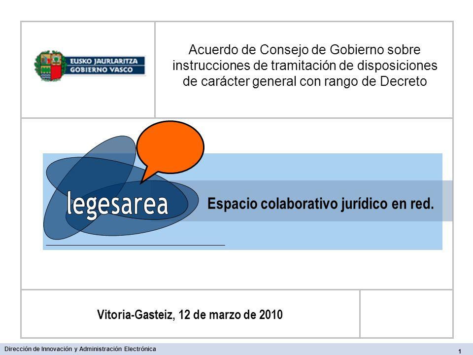 Espacio colaborativo jurídico en red. Acuerdo de Consejo de Gobierno sobre instrucciones de tramitación de disposiciones de carácter general con rango
