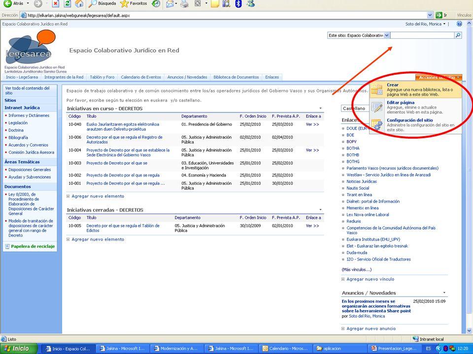 21 Dirección de Innovación y Administración Electrónica Legesarea, espacio colaborativo jurídico en red