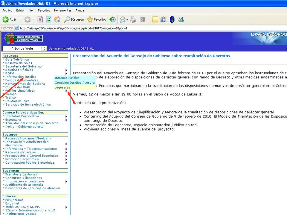 3 Dirección de Innovación y Administración Electrónica Legesarea, espacio colaborativo jurídico en red