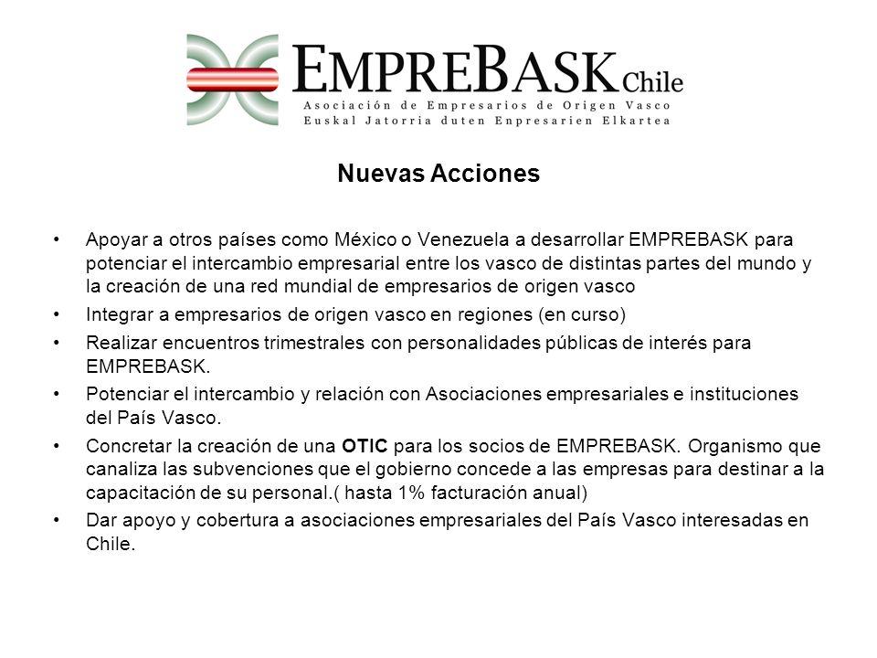 Nuevas Acciones Apoyar a otros países como México o Venezuela a desarrollar EMPREBASK para potenciar el intercambio empresarial entre los vasco de dis