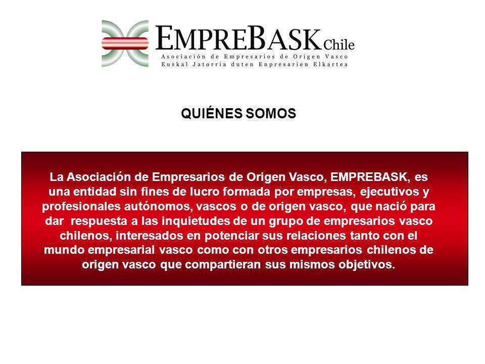 QUIÉNES SOMOS La Asociación de Empresarios de Origen Vasco, EMPREBASK, es una entidad sin fines de lucro formada por empresas, ejecutivos y profesiona