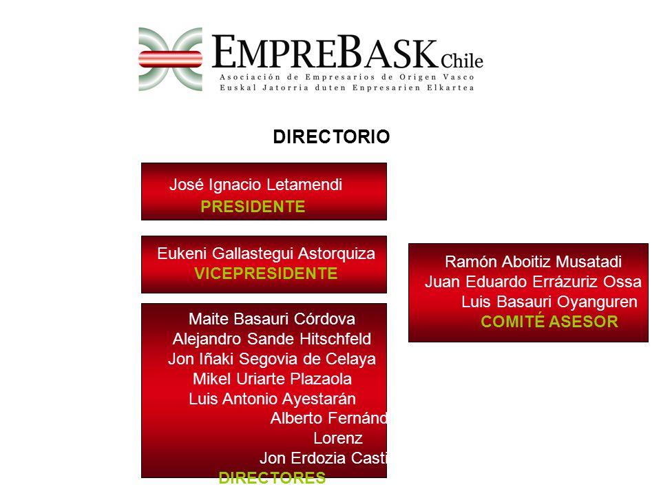 SOCIOS Empresarios de origen vasco Altos ejecutivos de origen vasco Profesionales independientes de origen vasco Empresas vascas implantadas en Chile Altos ejecutivos vascos Total socios inscritos: 123 Entre todas las empresas socias comprenden más de 30.000 trabajadores.