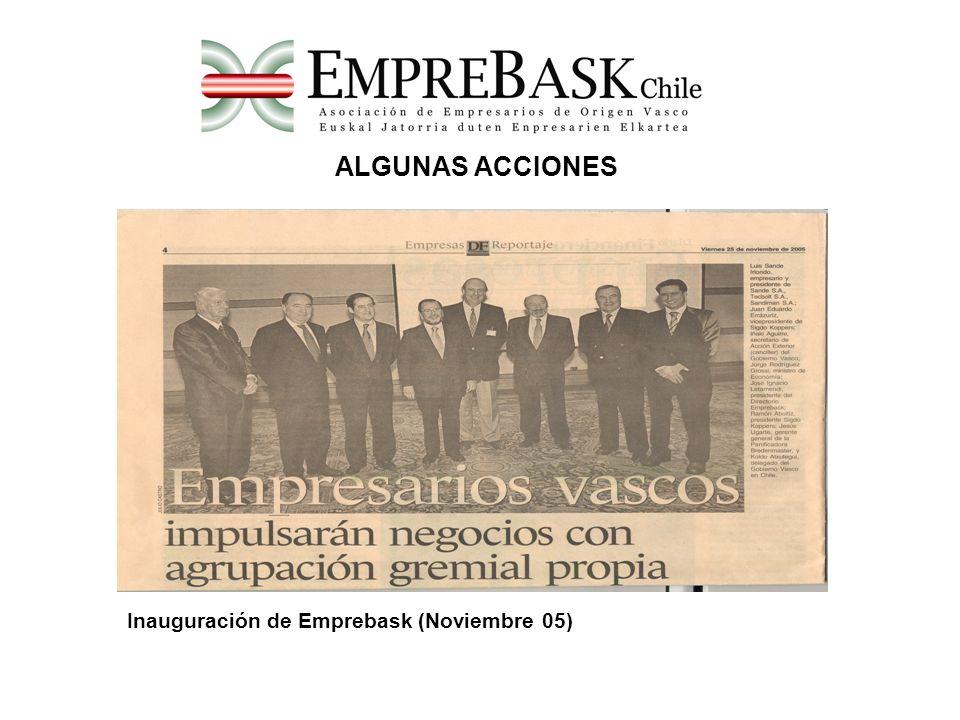 ALGUNAS ACCIONES Inauguración de Emprebask (Noviembre 05)
