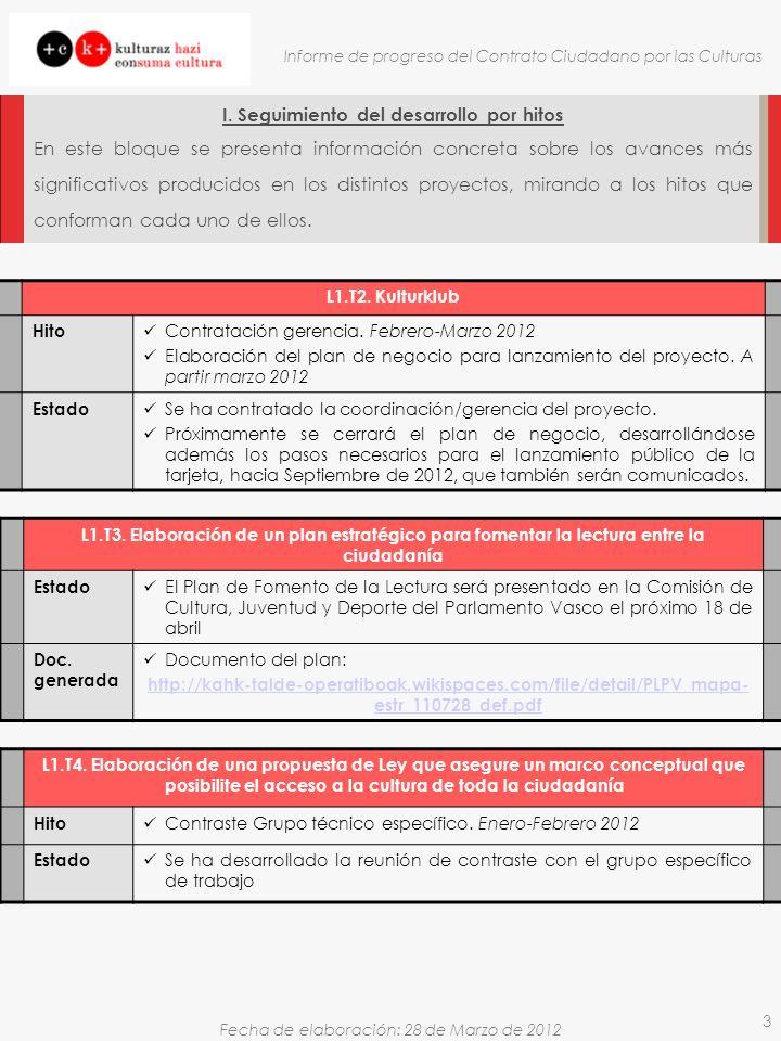 Fecha de elaboración: 28 de Marzo de 2012 Informe de progreso del Contrato Ciudadano por las Culturas 3 I.