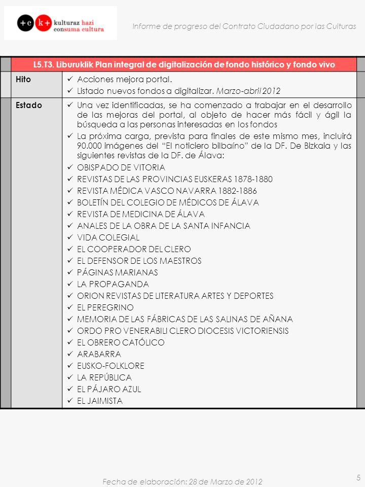 Fecha de elaboración: 28 de Marzo de 2012 Informe de progreso del Contrato Ciudadano por las Culturas 5 L5.T3.