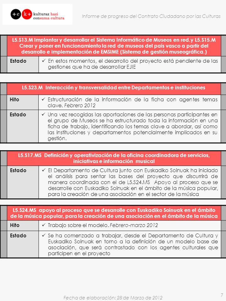 Fecha de elaboración: 28 de Marzo de 2012 Informe de progreso del Contrato Ciudadano por las Culturas 7 L5.S23.M Interacción y transversalidad entre Departamentos e instituciones Hito Estructuración de la información de la ficha con agentes temas clave.