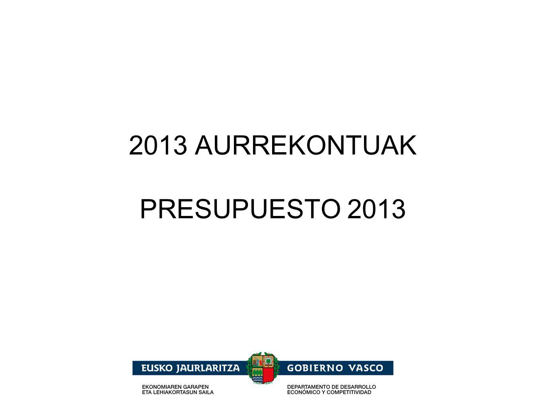 2013 Presupuestos Generales de la Comunidad Autónoma de Euskadi Euskal Autonomia Erkidegoaren Aurrekontu Orokorrak Fundación AZTI Mejora estruct.