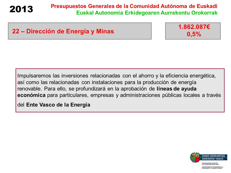 2013 Presupuestos Generales de la Comunidad Autónoma de Euskadi Euskal Autonomia Erkidegoaren Aurrekontu Orokorrak Impulsaremos las inversiones relaci