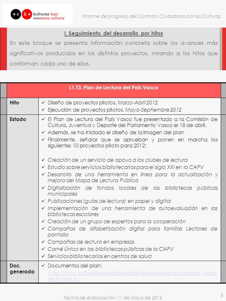Fecha de elaboración: 11 de Mayo de 2012 Informe de progreso del Contrato Ciudadano por las Culturas 3 I. Seguimiento del desarrollo por hitos En este