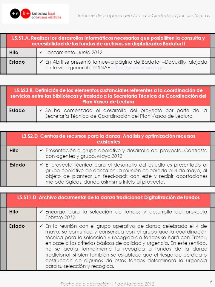 Fecha de elaboración: 11 de Mayo de 2012 Informe de progreso del Contrato Ciudadano por las Culturas 6 L5.S1.A. Realizar los desarrollos informáticos