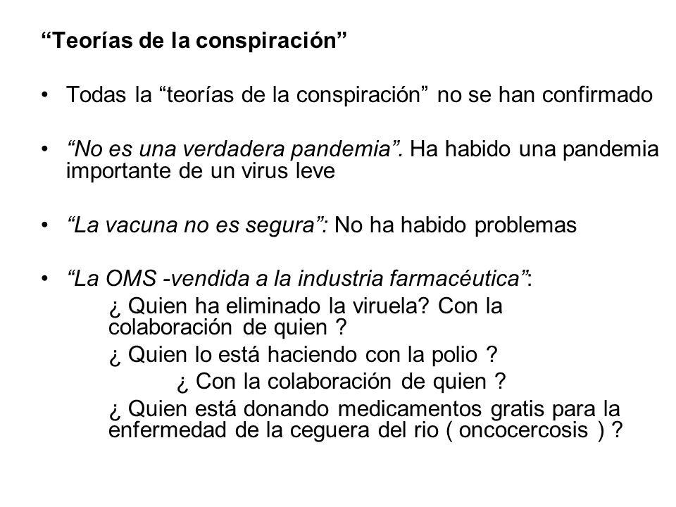 Teorías de la conspiración Todas la teorías de la conspiración no se han confirmado No es una verdadera pandemia. Ha habido una pandemia importante de