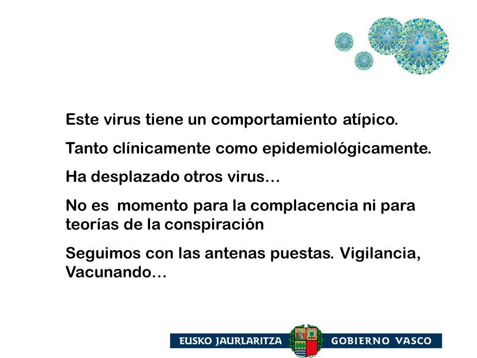 Este virus tiene un comportamiento atípico. Tanto clínicamente como epidemiológicamente. Ha desplazado otros virus… No es momento para la complacencia