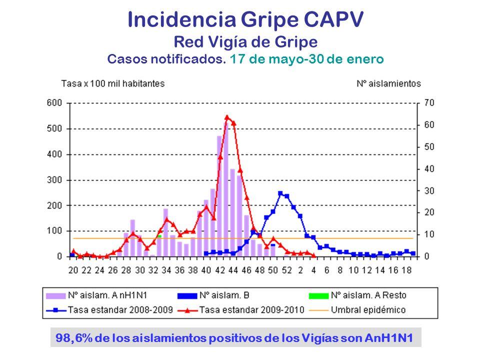 Incidencia Gripe CAPV Red Vigía de Gripe Casos notificados. 17 de mayo-30 de enero 98,6% de los aislamientos positivos de los Vigías son AnH1N1