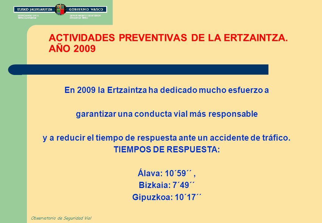 ACTIVIDADES PREVENTIVAS DE LA ERTZAINTZA. AÑO 2009 En 2009 la Ertzaintza ha dedicado mucho esfuerzo a garantizar una conducta vial más responsable y a