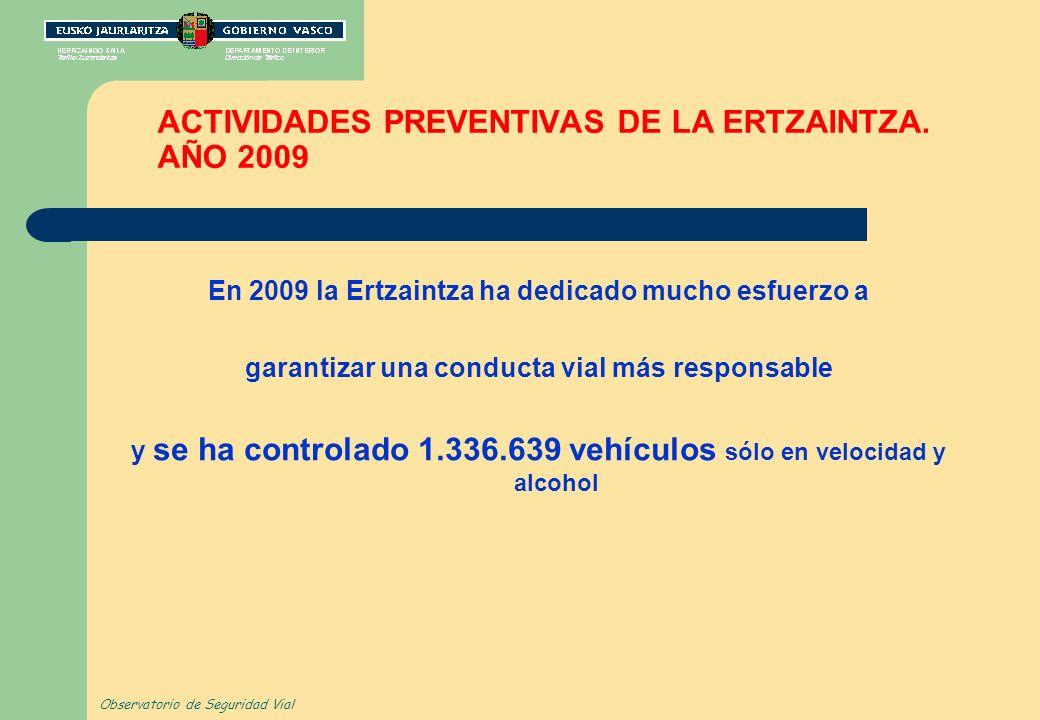 ACTIVIDADES PREVENTIVAS DE LA ERTZAINTZA. AÑO 2009 En 2009 la Ertzaintza ha dedicado mucho esfuerzo a garantizar una conducta vial más responsable y s