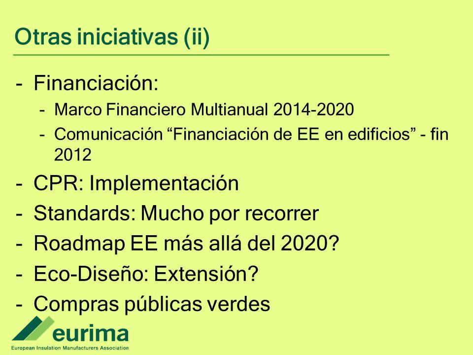 Otras iniciativas (ii) -Financiación: -Marco Financiero Multianual 2014-2020 -Comunicación Financiación de EE en edificios - fin 2012 -CPR: Implementación -Standards: Mucho por recorrer -Roadmap EE más allá del 2020.