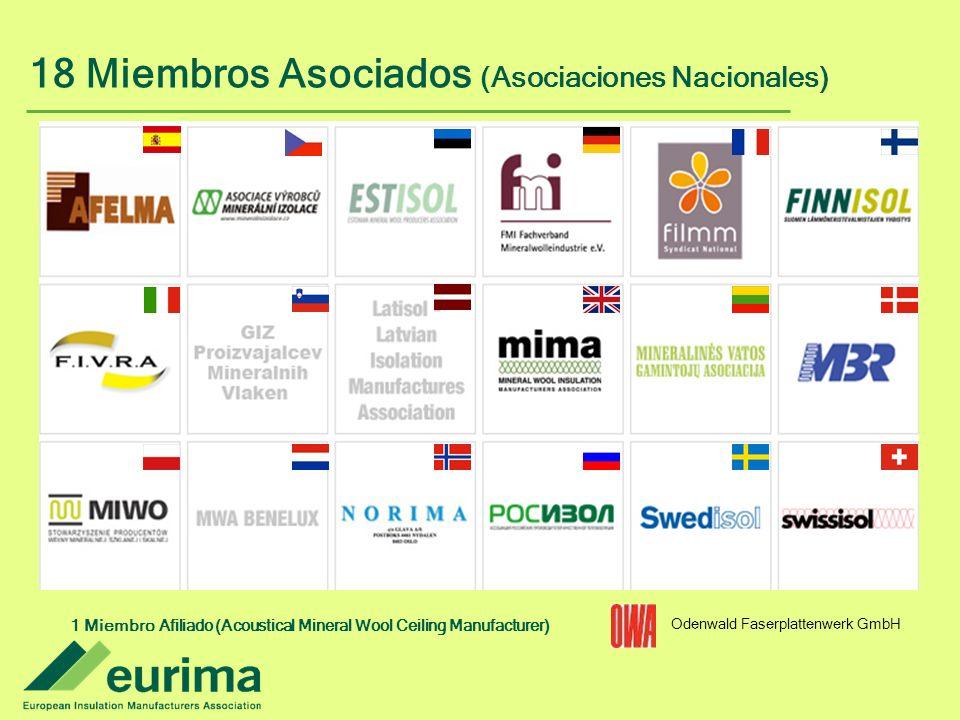 1 Miembro Afiliado (Acoustical Mineral Wool Ceiling Manufacturer) Odenwald Faserplattenwerk GmbH 18 Miembros Asociados (Asociaciones Nacionales)
