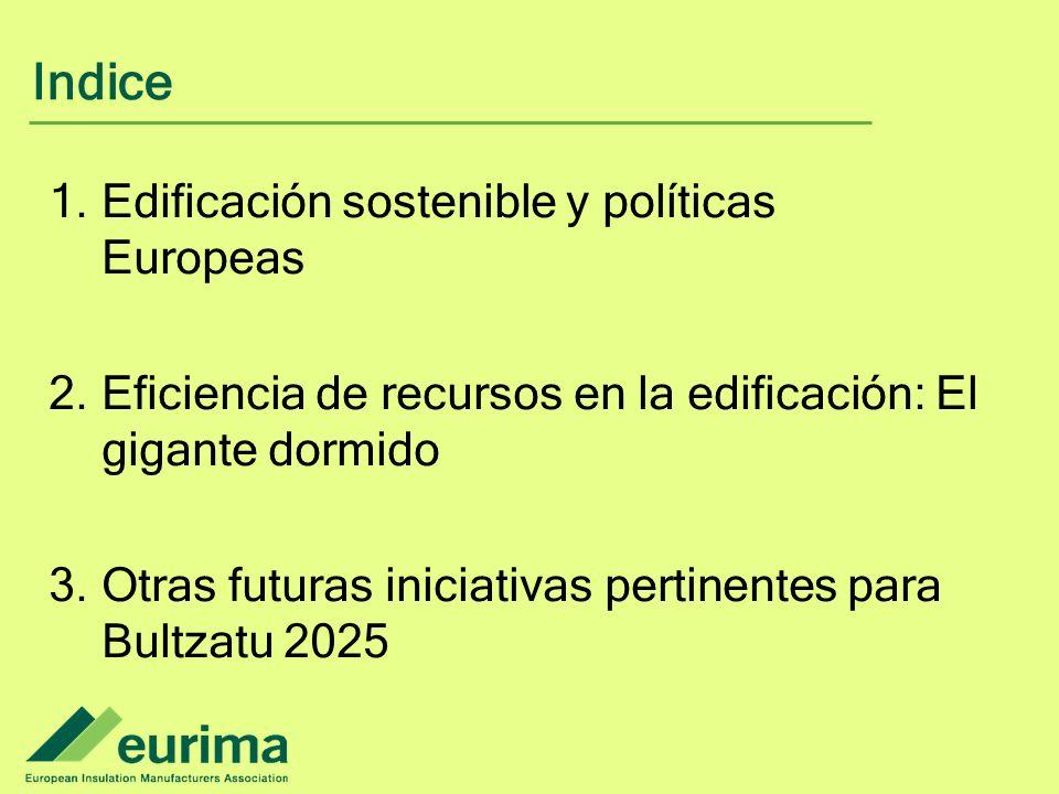 Indice 1.Edificación sostenible y políticas Europeas 2.Eficiencia de recursos en la edificación: El gigante dormido 3.Otras futuras iniciativas pertinentes para Bultzatu 2025