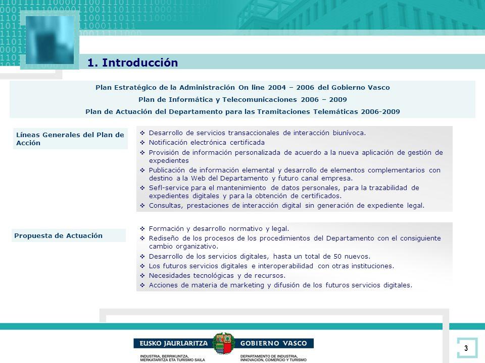 3 1. Introducción Plan Estratégico de la Administración On line 2004 – 2006 del Gobierno Vasco Plan de Informática y Telecomunicaciones 2006 – 2009 Pl