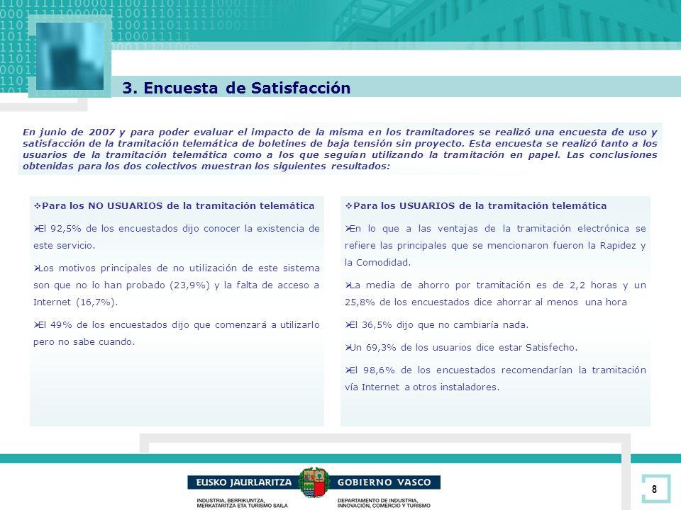 8 3. Encuesta de Satisfacción En junio de 2007 y para poder evaluar el impacto de la misma en los tramitadores se realizó una encuesta de uso y satisf