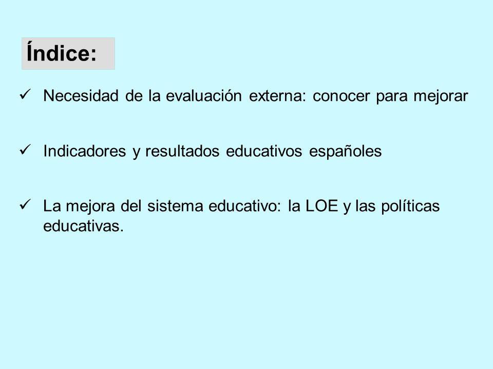 Necesidad de la evaluación externa: conocer para mejorar Indicadores y resultados educativos españoles La mejora del sistema educativo: la LOE y las políticas educativas.